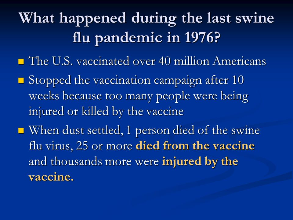 What happened during the last swine flu pandemic in 1976