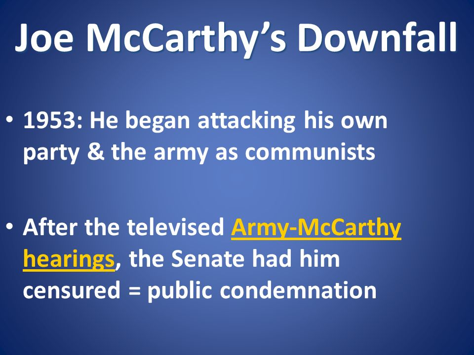 Joe McCarthy's Downfall