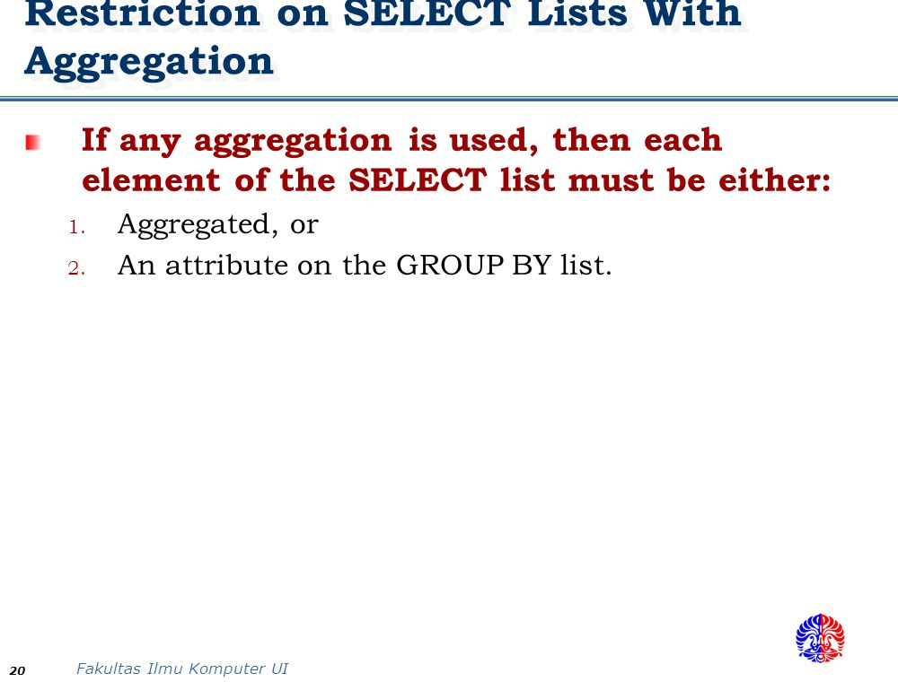 Restriction on SELECT Lists With Aggregation