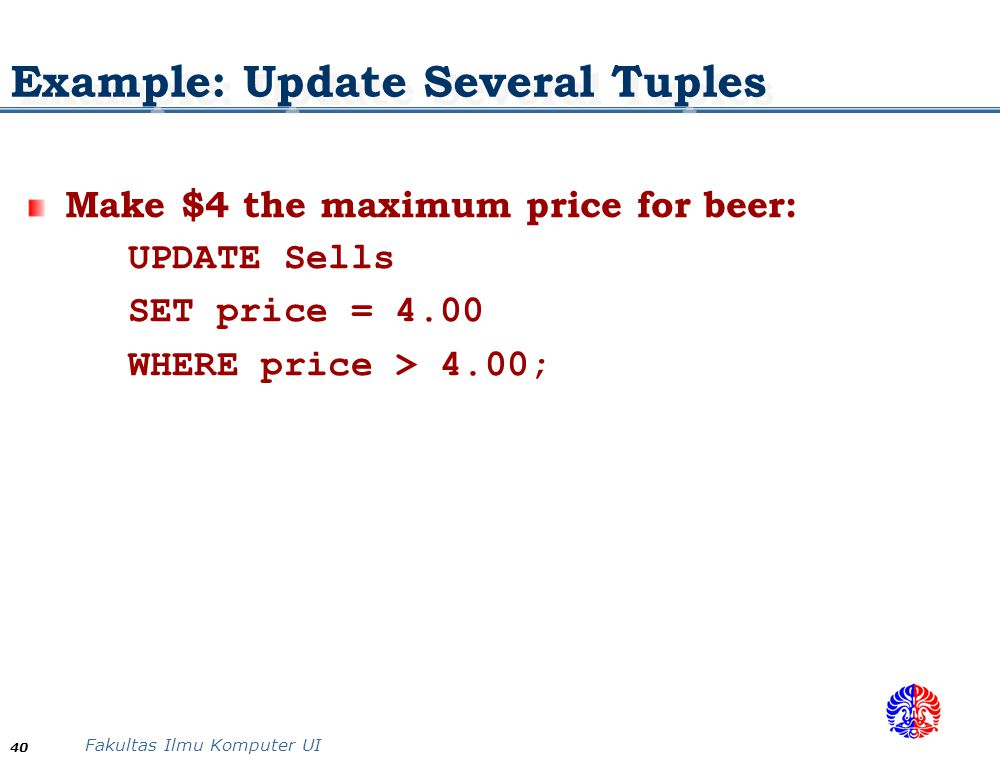 Example: Update Several Tuples
