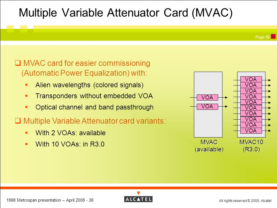 Multiple Variable Attenuator Card (MVAC)
