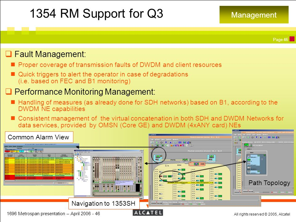 1354 RM Support for Q3 Fault Management:
