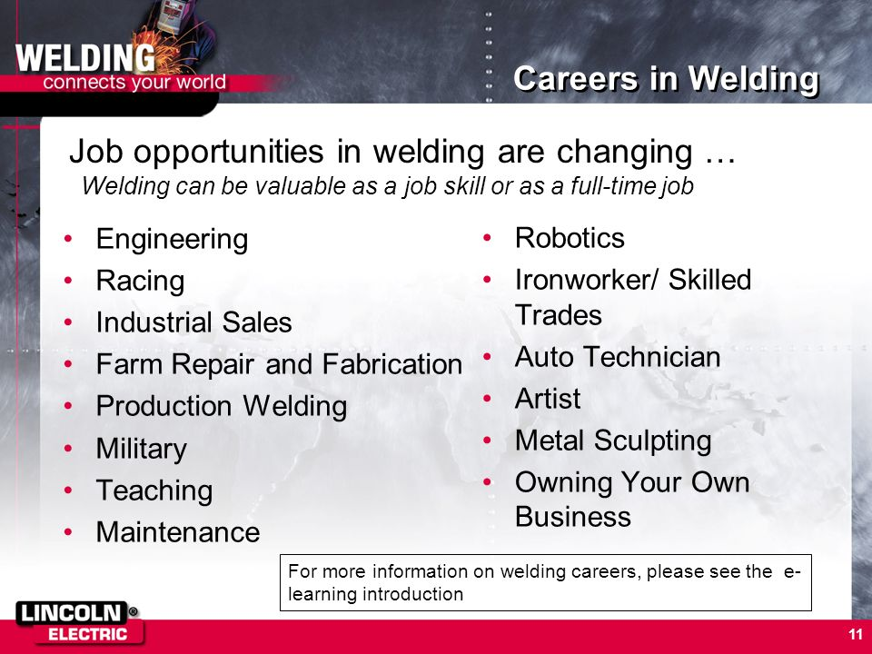 Job opportunities in welding are changing …