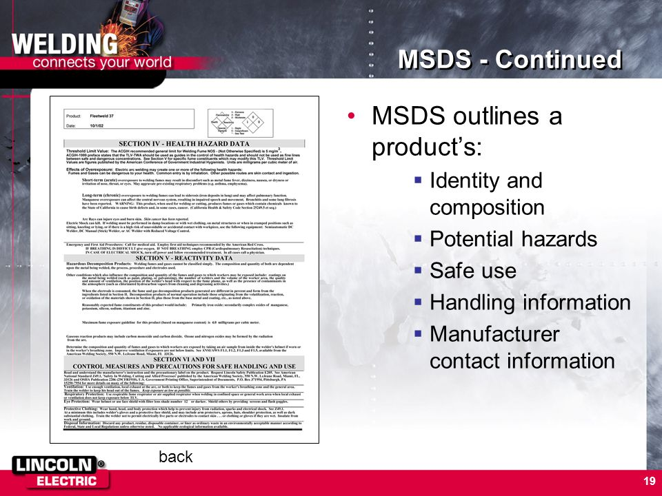 MSDS outlines a product's: