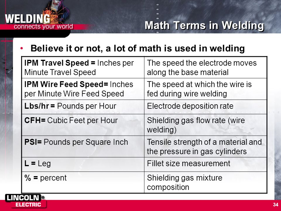 Math Terms in Welding Believe it or not, a lot of math is used in welding. IPM Travel Speed = Inches per Minute Travel Speed.