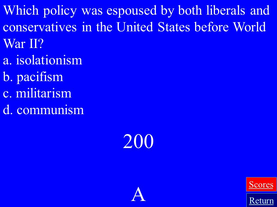 Which policy was espoused by both liberals and conservatives in the United States before World War II