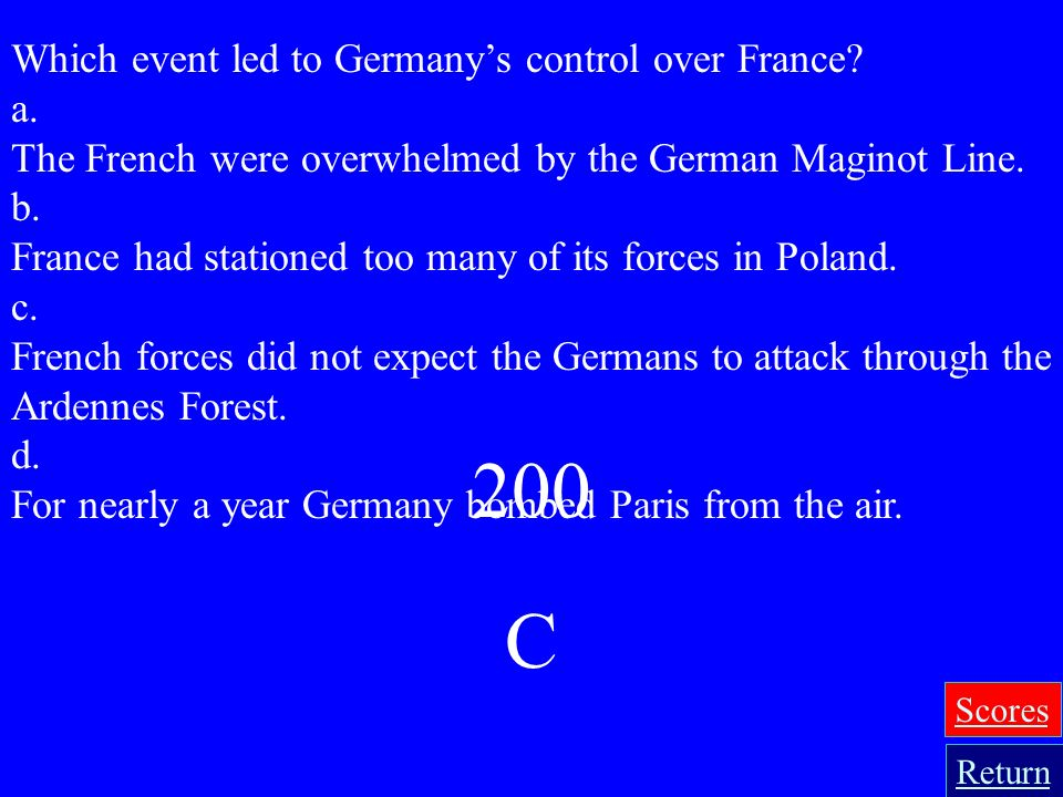 200 C Which event led to Germany's control over France a.
