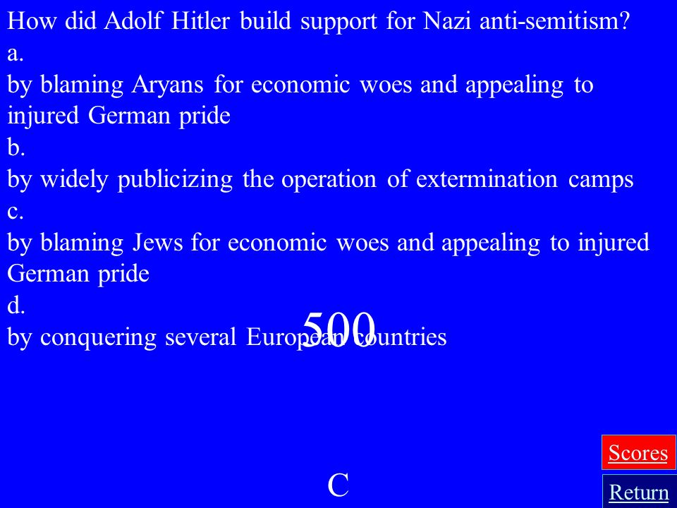 500 C How did Adolf Hitler build support for Nazi anti-semitism a.