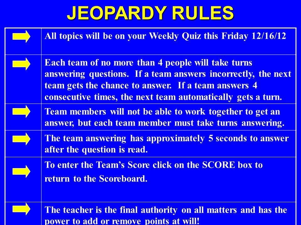 JEOPARDY RULES All topics will be on your Weekly Quiz this Friday 12/16/12.