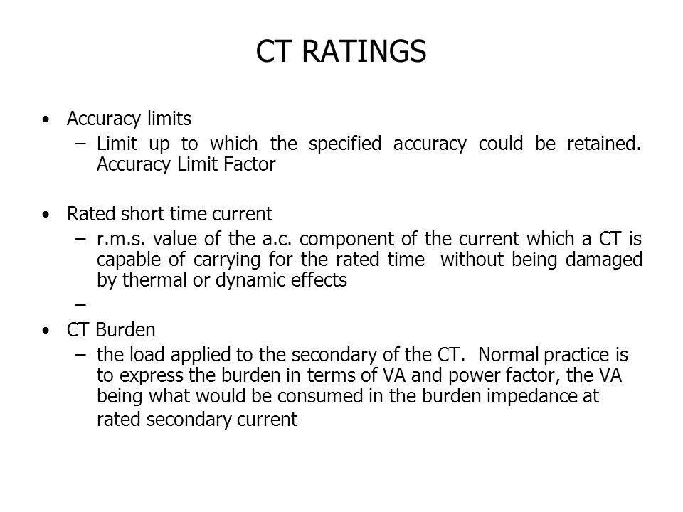 CT RATINGS Accuracy limits