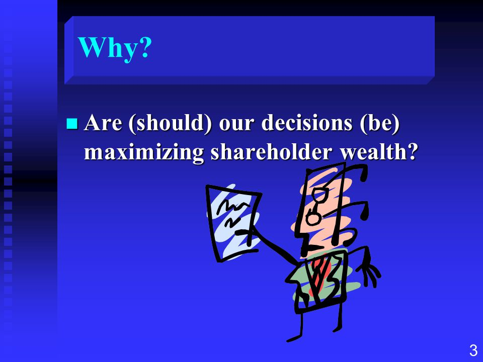 Why Are (should) our decisions (be) maximizing shareholder wealth