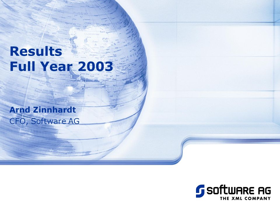Title of PPT Arnd Zinnhardt CFO, Software AG