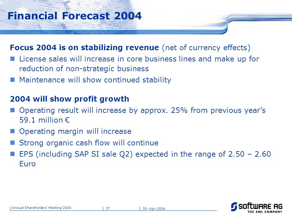 Financial Forecast 2004 Title of PPT. 25-Mar-17. Focus 2004 is on stabilizing revenue (net of currency effects)
