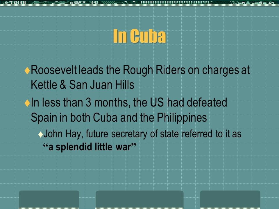 In Cuba Roosevelt leads the Rough Riders on charges at Kettle & San Juan Hills.
