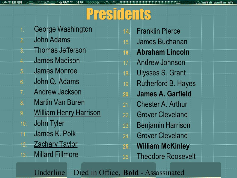Presidents George Washington John Adams James Buchanan