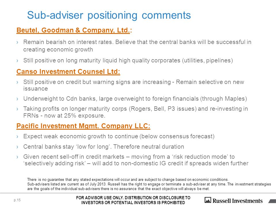 Sub-adviser positioning comments