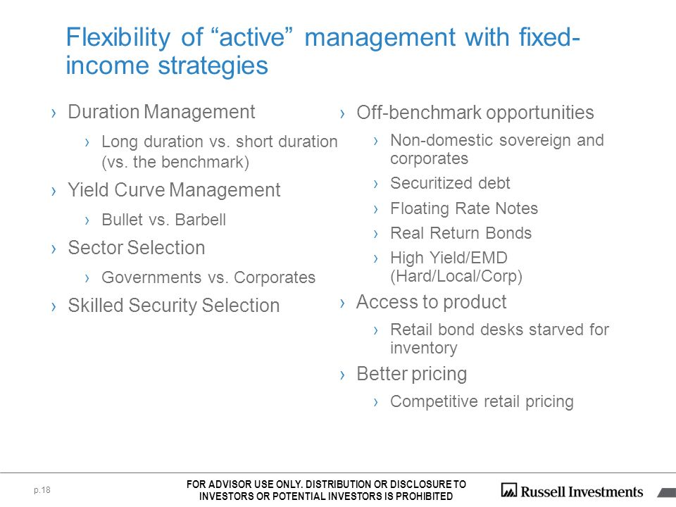 Flexibility of active management with fixed-income strategies