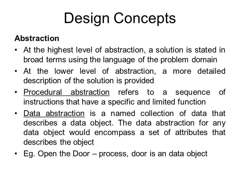 Design Concepts Abstraction