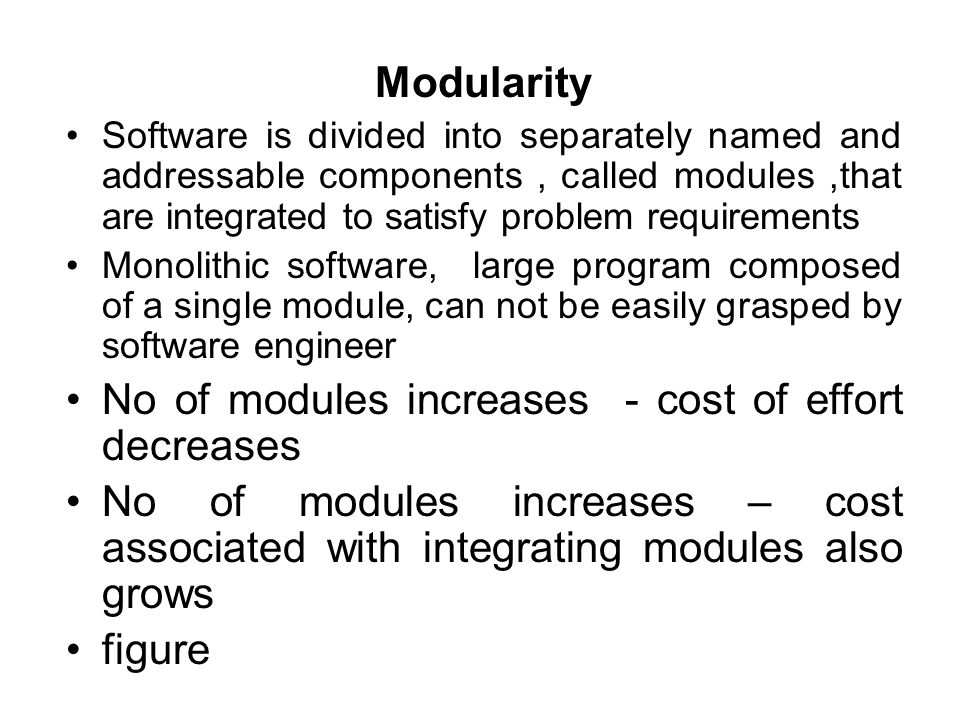 No of modules increases - cost of effort decreases
