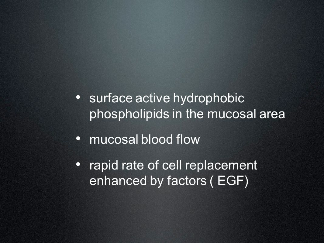 surface active hydrophobic phospholipids in the mucosal area