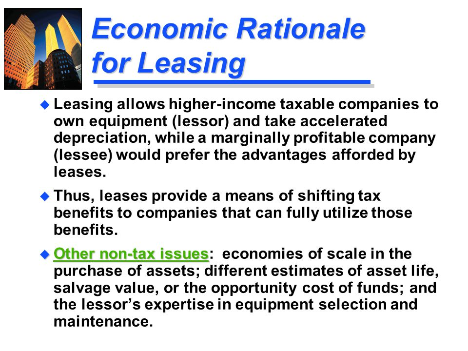 Economic Rationale for Leasing