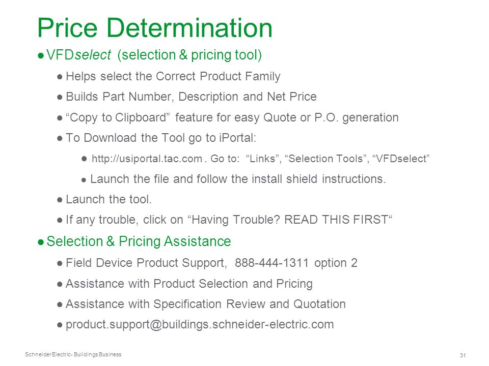 Price Determination VFDselect (selection & pricing tool)