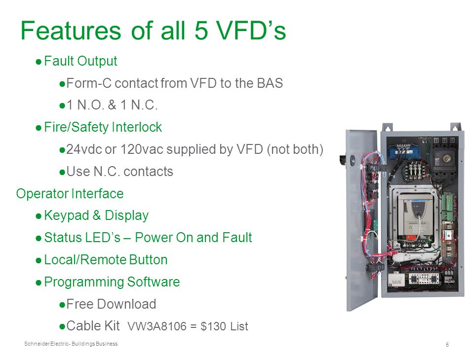 Features of all 5 VFD's Fault Output