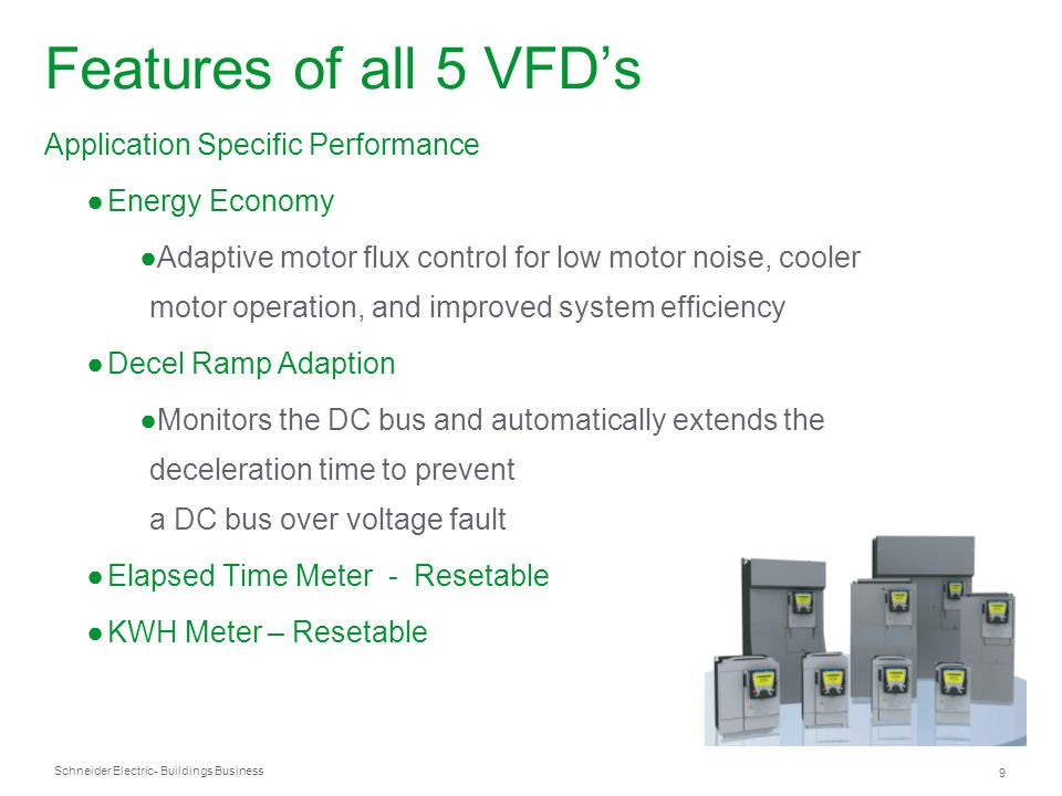 Features of all 5 VFD's Application Specific Performance