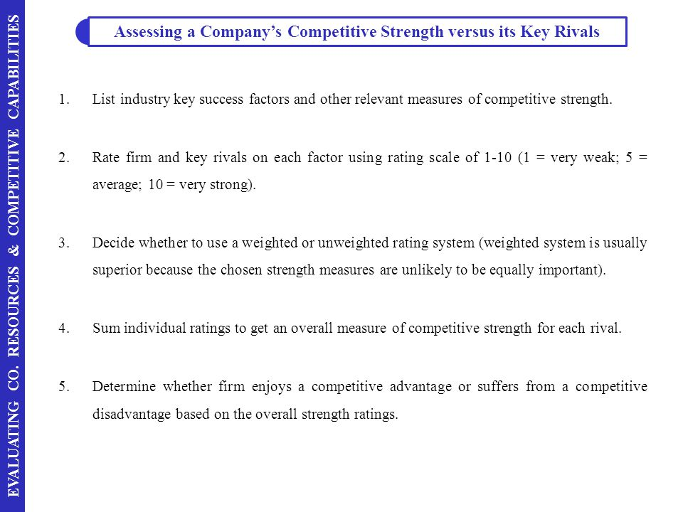 Assessing A Companys Competitive Strength Versus Its Key Rivals
