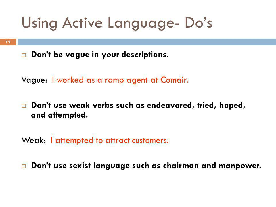 Using Active Language- Do's