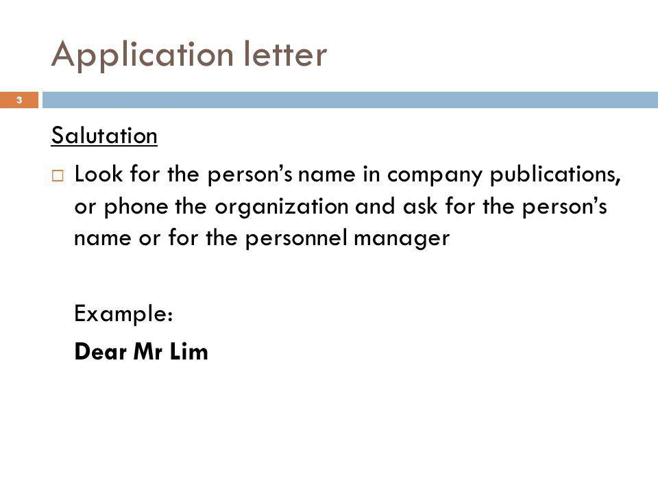 Application letter Salutation