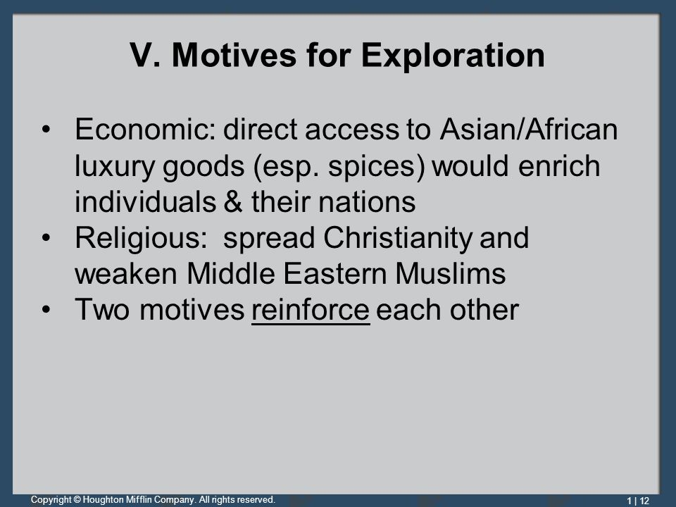 V. Motives for Exploration
