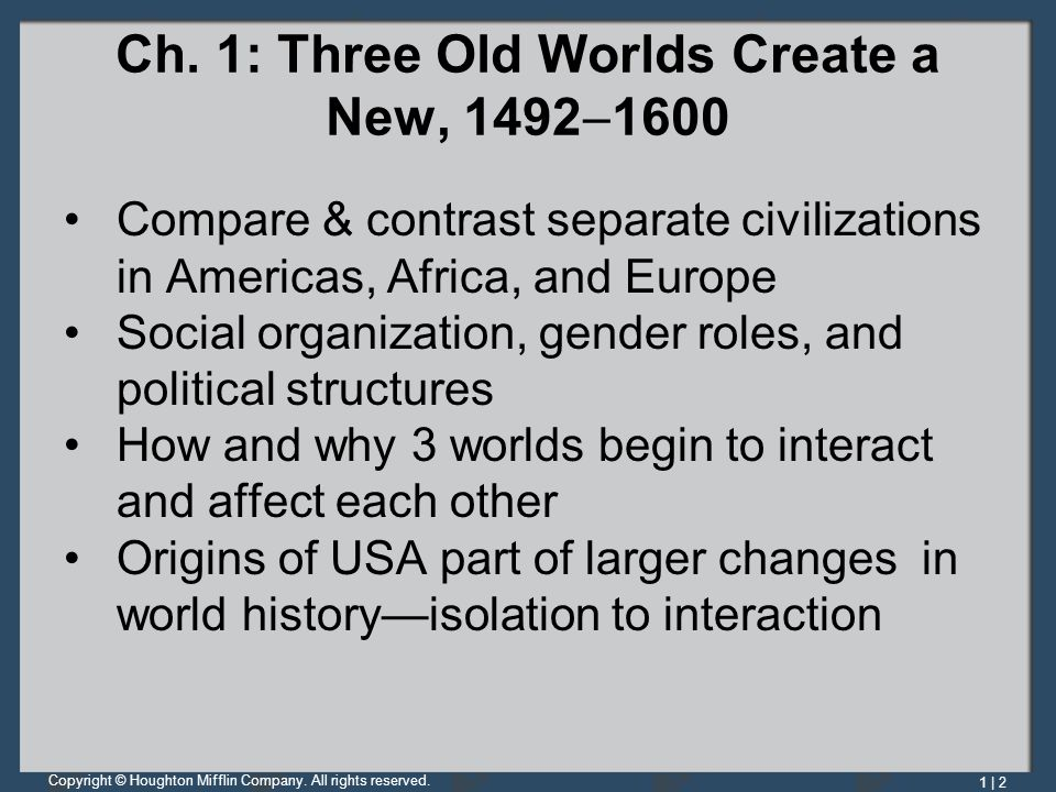 Ch. 1: Three Old Worlds Create a New, 14921600