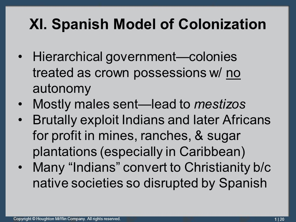 XI. Spanish Model of Colonization