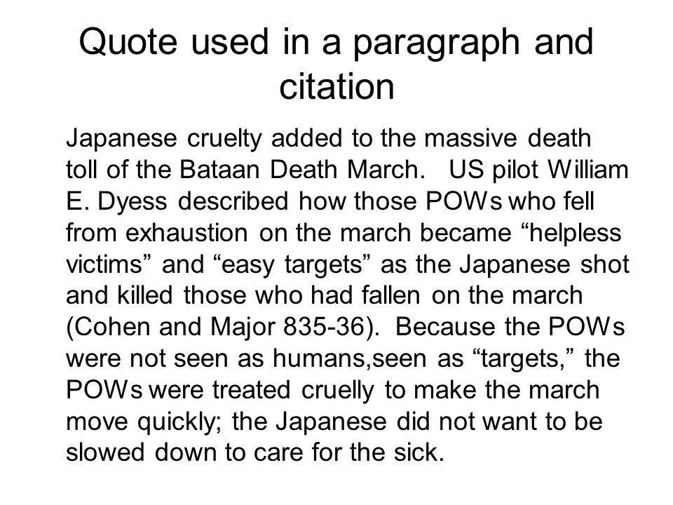 Quote used in a paragraph and citation