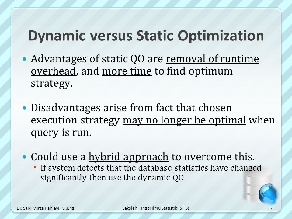 Dynamic versus Static Optimization