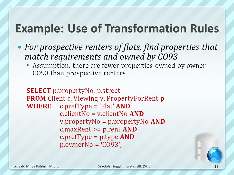 Example: Use of Transformation Rules