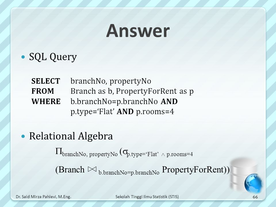 Answer SQL Query Relational Algebra