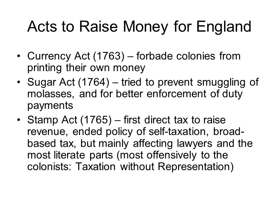 Acts to Raise Money for England