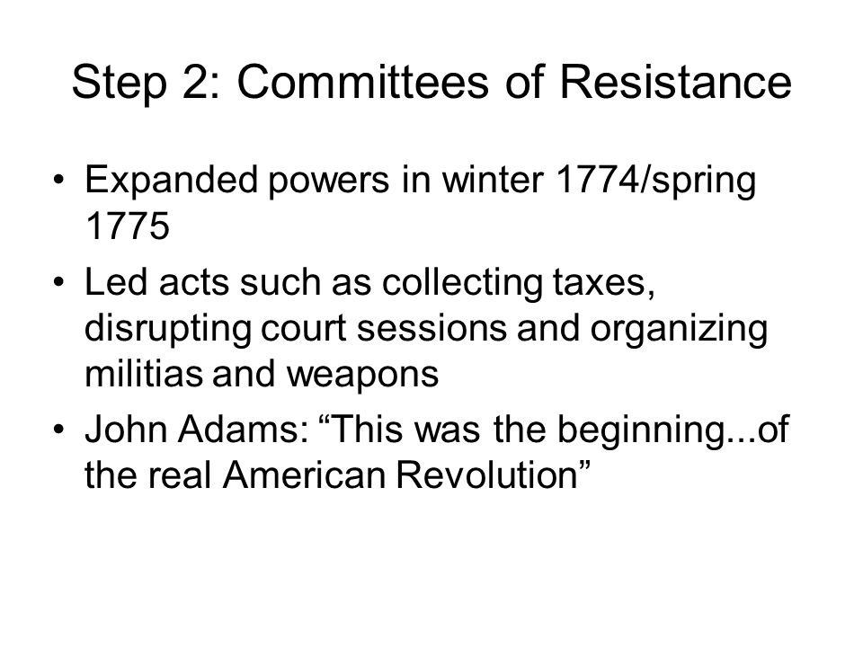 Step 2: Committees of Resistance