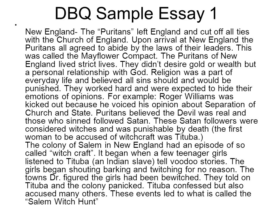 DBQ Sample Essay 1