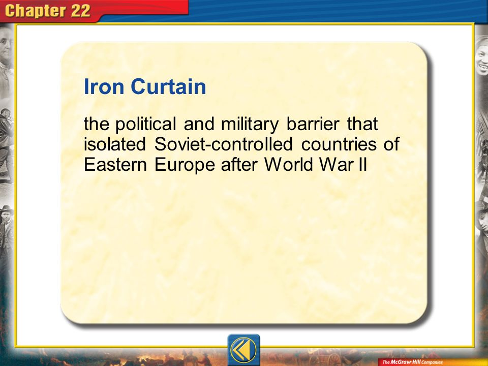 Iron Curtain the political and military barrier that isolated Soviet-controlled countries of Eastern Europe after World War II.