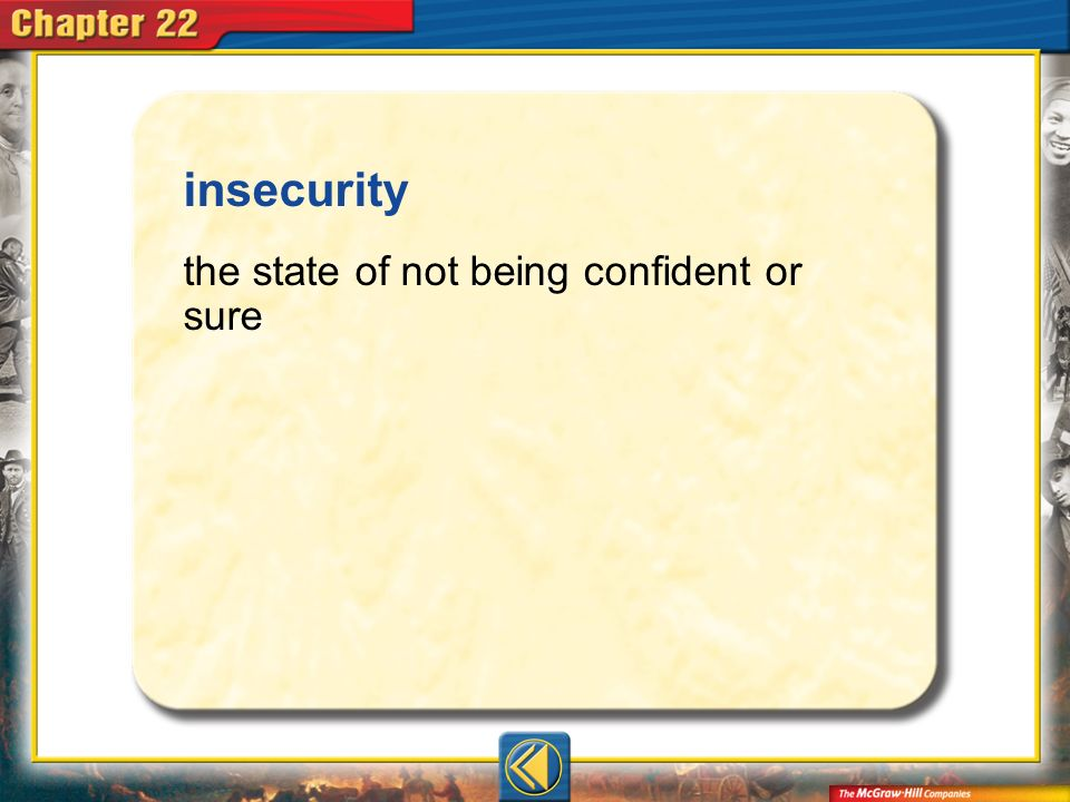 insecurity the state of not being confident or sure Vocab7