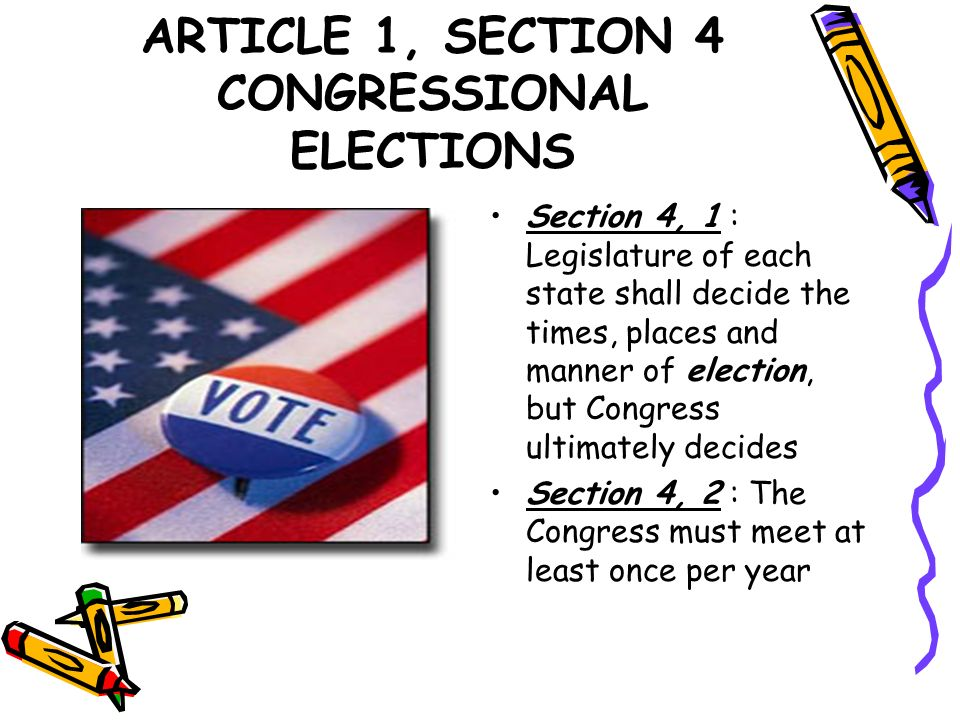 ARTICLE 1, SECTION 4 CONGRESSIONAL ELECTIONS