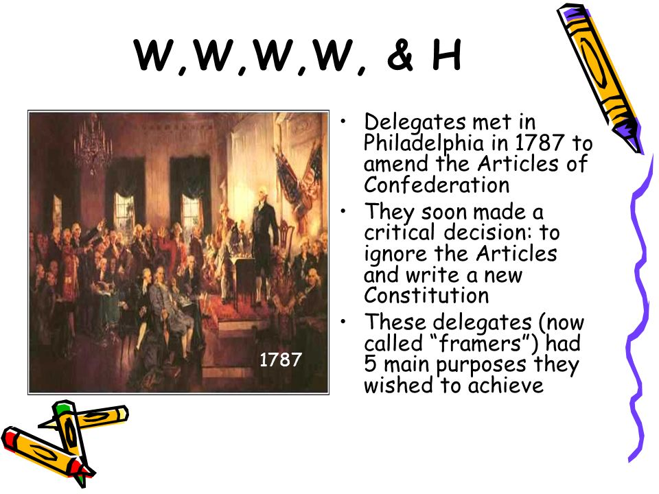 W,W,W,W, & H Delegates met in Philadelphia in 1787 to amend the Articles of Confederation.