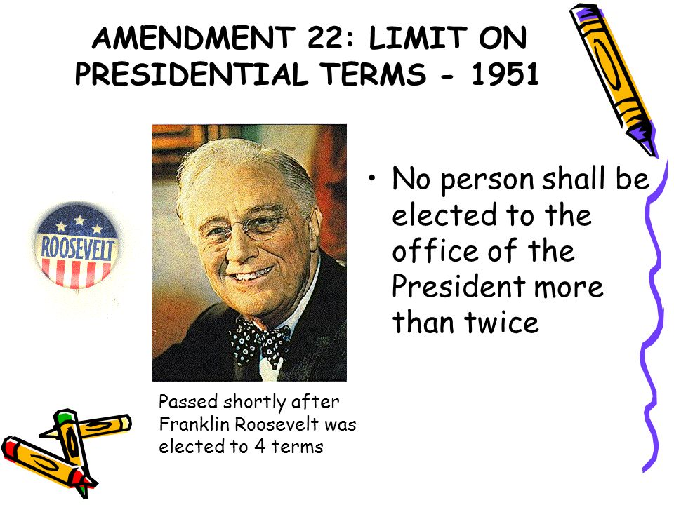 AMENDMENT 22: LIMIT ON PRESIDENTIAL TERMS - 1951