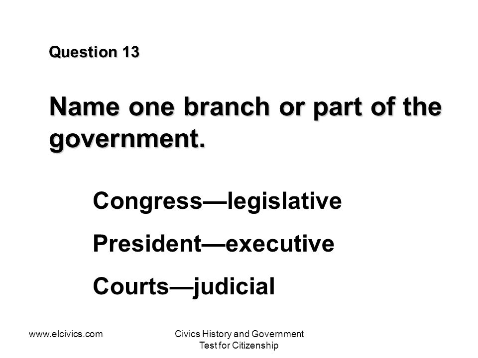 Question 13 Name one branch or part of the government.