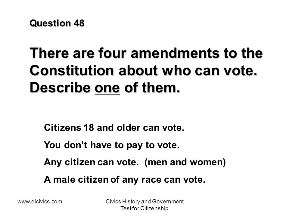 Civics History and Government Test for Citizenship