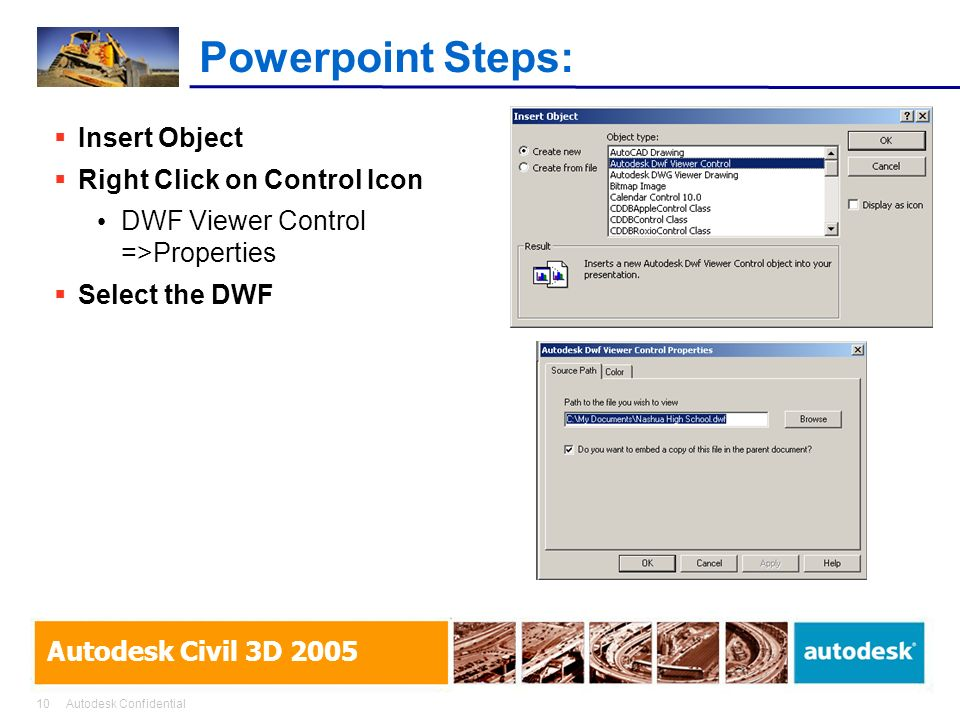 Powerpoint Steps: Insert Object Right Click on Control Icon