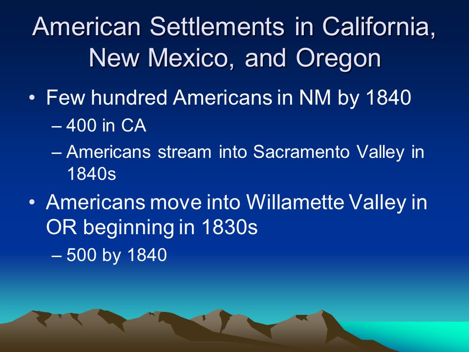 American Settlements in California, New Mexico, and Oregon